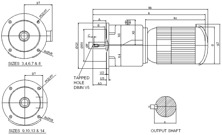 Double Reduction Flange Mount Inline Helical Geared Motor