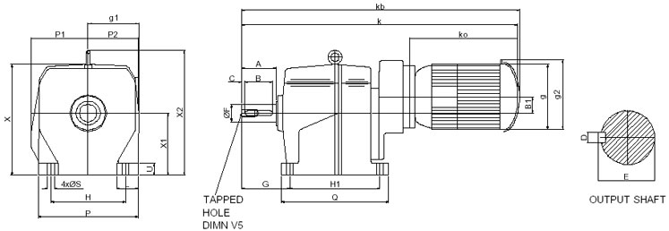Triple Reduction Base Mounted Inline Helical Geared Motor