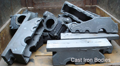 Cast iron bodies for gears.