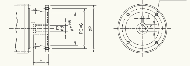 Motor mounting dimension for flange mounted planetary gearbox