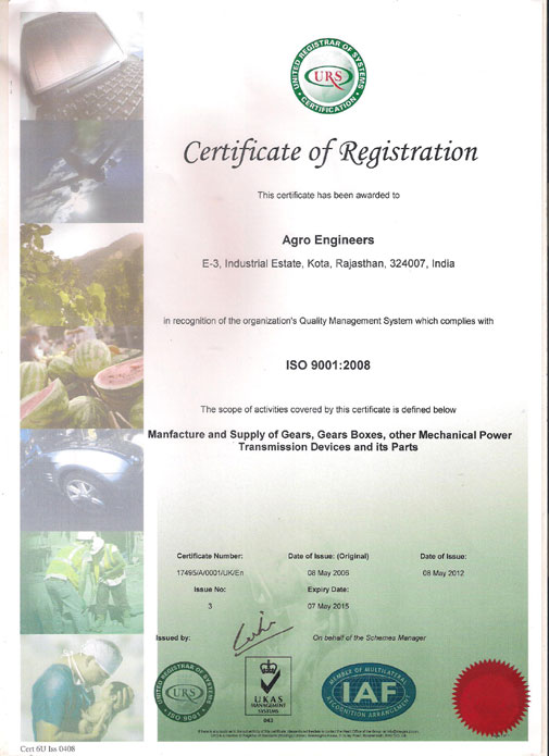 ISO 9001:2008 Certificate of Agro Engineers