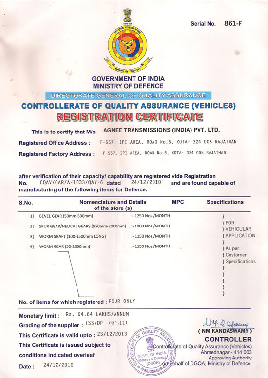 Registration Certificate Issued By Ministry of Defense